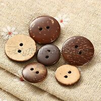 100Pcs 2 Holes Coconut Shell Brown Round Sewing Buttons Scrapbooking DIY Crafts