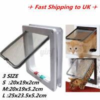 4 Way Large Medium Small Pet Cat Puppy Dog Door Flap Locking Lockable Saf
