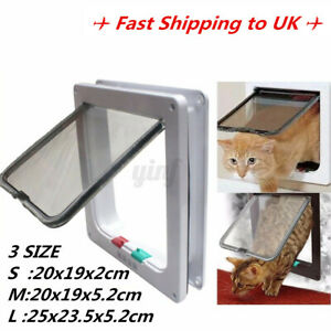 4 Way Large Medium Small Pet Cat Puppy Dog Door Flap Locking Lockable Safe  AU