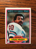 1980 Topps #90 Louis Wright Football Card Denver Broncos AFC All Pro NFL Raw