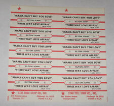 Elton John Full Sheet of 10 Jukebox Title Strips Mama Can't Buy You Love