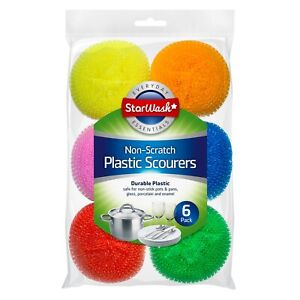 Multicoloured Plastic Non Scratch Cleaning Scourers Washing Up Pan Dish Cleaner