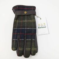 Barbour Newbrough Green Brown Tartan Wool Leather Gloves NEW Size Large
