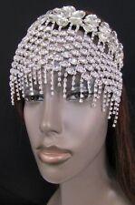 New Women Silver Metal Flower Long Multi Fringes Rhinestone Head Fashion Jewelry