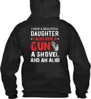 A Beautiful Daughter, Gun And Shovel - I Have Daughter Gildan Hoodie Sweatshirt