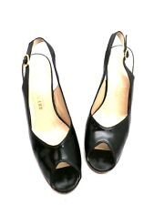VTG Womens Bruno Magli Black Patent Leather Peep Toe Sling Back Shoes 6M 70S