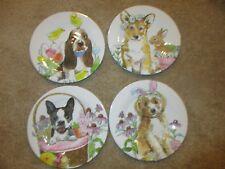 4 Melamine Dog Bunny Easter Salad Plates BASSET HOUND Boston Terrier NEW