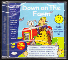 DOWN ON THE FARM - 28 NURSERY RHYMES + 50 PRINTABLE PAGES -EDUCATIONAL SEALED CD