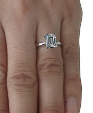 Real 14k White Gold 1.50 Ct Princess Cut Solitaire Engagement Ring