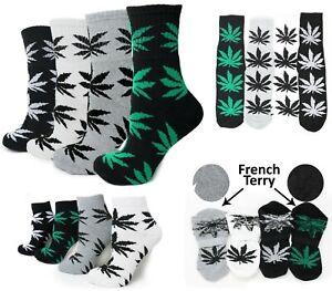 4 Pack Marijuana Weed Leaf Printed Cotton Unisex Sports Comfort Socks