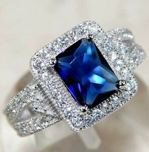 Top Quality 4CT Blue Sapphire & Topaz 925 Sterling Silver Ring Jewelry Sz 8, M5