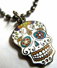 Day of the Dead All Saints Day Dia de los Muertos Sugar Skull Pendant Necklace