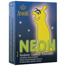 2 CONDOMS CONDOMS CONDOMS PHOSPHORESCENT NEON AMOR GLOW AT BUIO