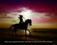Religious Inspirational Poster Art Print Horse Riding Western Cowgirl Wall Decor