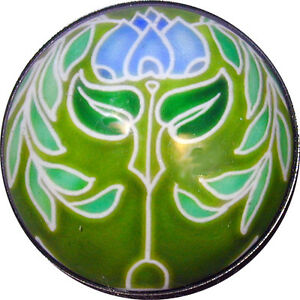 Crystal Dome Button Arts & Crafts Flower Green & Blue  ADF 19 - 1  FREE US SHIP