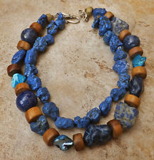 DENIM TURQUOISE LAPIS LAZULI MO PEARL WOOD SILVER 2strnd NECKLACE chunky JEWELRY