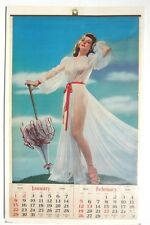VINTAGE 1950 NUDE Girl In Sexy Lingerie PIN-UP Girl CALENDAR NM