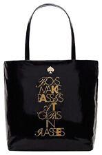 Kate Spade Bon Shopper Tote Required Reading NWT $238 Black Glasses Theme Bag