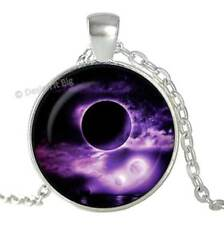 Pendant Silver Necklace Jewellery - Uk Purple Night Sky Moons Galaxy Space Glass