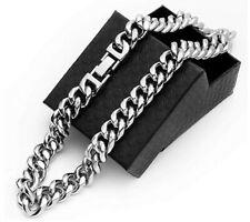 Crescent Bear Cuban Link Chain for Men Gold Chain Miami Cuban Chain Necklace18''