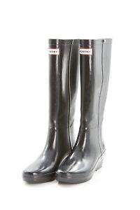 HUNTER Boots Sz 7 M in Navy Blue Rubber AROLLA Tall Wedge Heel Rainboots