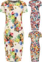 Plus Womens Floral Print Short Sleeve Midi Dress Ladies Round Neck New 12-26
