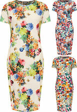 Plus Womens Floral Print Short Sleeve Midi Dress Ladies Round Neck New 12-26