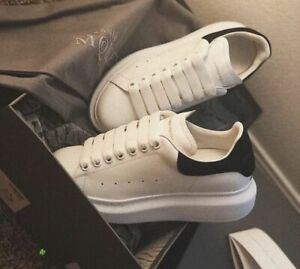 """Alexander McQueen $600 Mns """"All-White/While-Black"""" Oversized Sneakers"""