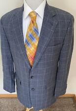 Bill Blass Platinum 40L Wool Blazer Jacket Sport Coat Blue Windowpane Italy Made