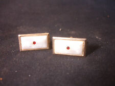 Old Vtg Mother Of Pearl Color Red Gem Gold Tone Cufflinks Jewelry
