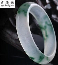 Yunhaiyuan Natural Green Ice Jade Hand Carving Charm Bracelet Aaa