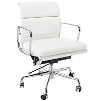 Eames Office Chair Soft Padded Mid Low Back Reproduction Leather White
