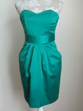 H&M emerald green satin strapless mini dress, pockets size 8/36