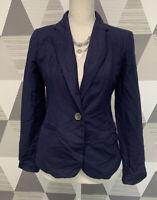 a.n.d. eawy Women's Size 2 Blue Linen Blend Lined Long Sleeve Blazer jacket #C31