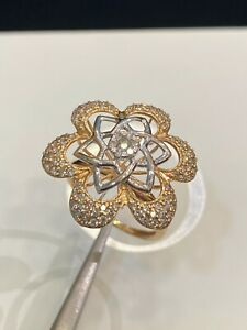 1.05 Cts Round Brilliant Cut Natural Diamonds Cocktail Ring In 585 Fine 14K Gold