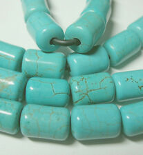 "Turquoise Howlite 10x13mm Tube Large 2mm Hole Beads 8"" EZ String Leather Cords"