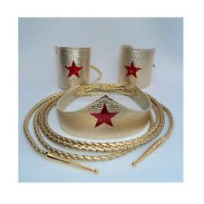 Wonder Woman Costume Accessory Set - Tiara, Cuffs, Lasso Super Hero shiny lacing