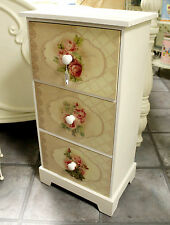 Tall Cream Vintage Rose Wooden Shabby Chic Chest Of Drawers Lamp Table