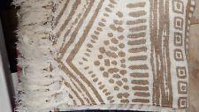 Kuscheldecke Wohndecke Decke Plaid Ethno-Stil beige creme Fransen 115 x 160 cm