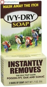 Ivy Dry Soap 3 Ct Mild Cleansing Scrub Instantly Removes Poison-Ivy, Oak & Sumac