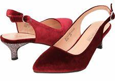 76b6a408ab4d Burgundy Wide E Fit Kitten Heel Slingback Velvet Shoes UK 4 EUR 37 SPARK z