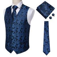 HT Men's Blue Black Paisley Set Vest Waistcoat Tie Hanky Cufflinks Formal Dress