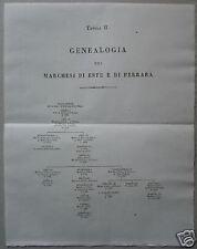 ARALDICA_GENEALOGIA_ESTE_FERRARA_INTERESSANTE STAMPA_ALBERO GENEALOGICO_'800