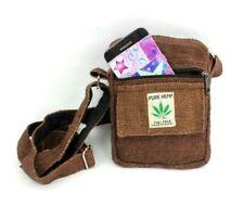 Small Hemp Crossbody Purse Boho Hippie Brown Passport Travel Shoulder Bag