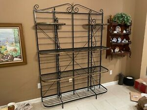 """Vintage Wrought Iron and Brass Baker's Rack - 60"""" W x 83"""" H"""