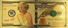 Marylin Monroe 100 dollar 24K gold-plated banknote