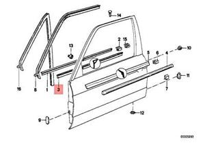 Genuine BMW M3 E30 318i 320i Door Weather Strip Inner Left Black 51211942821