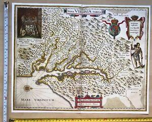 Historic Antique vintage Blaeu Map of Nova Virginiae Tabula 1600's: REPRINT