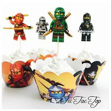 12x Ninjago Cupcake Toppers + 12x Wrappers. Party Supplies Lolly Loot Bag