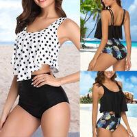 Damen Hohe Taille Bademode Rüsche Bikini Zweiteiligen Badeanzug Schwimmanzug H/J